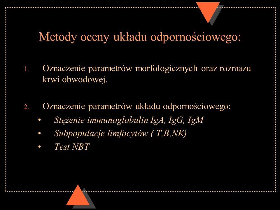 Metody oceny układu odpornościowego: 1. Oznaczenie parametrów morfologicznych oraz rozmazu krwi obwodowej. 2. Oznaczenie parametrów układu odpornościo