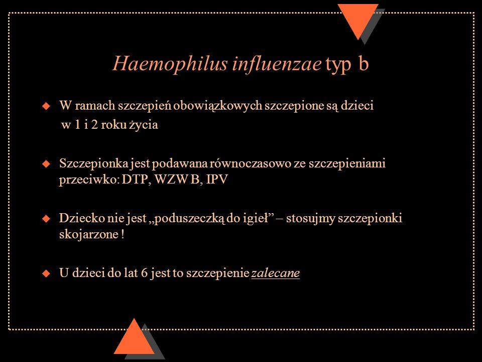Haemophilus influenzae typ b u W ramach szczepień obowiązkowych szczepione są dzieci w 1 i 2 roku życia u Szczepionka jest podawana równoczasowo ze sz