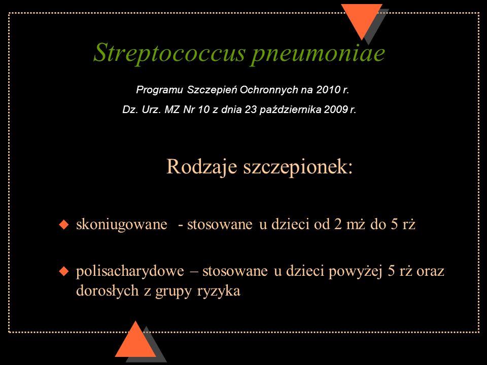 Streptococcus pneumoniae Programu Szczepień Ochronnych na 2010 r. Dz. Urz. MZ Nr 10 z dnia 23 października 2009 r. Rodzaje szczepionek: u skoniugowane