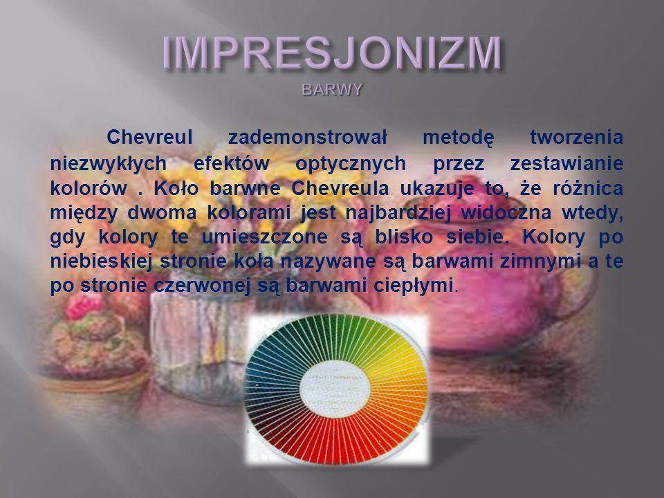 Chevreul zademonstrował metodę tworzenia niezwykłych efektów optycznych przez zestawianie kolorów. Koło barwne Chevreula ukazuje to, że różnica między