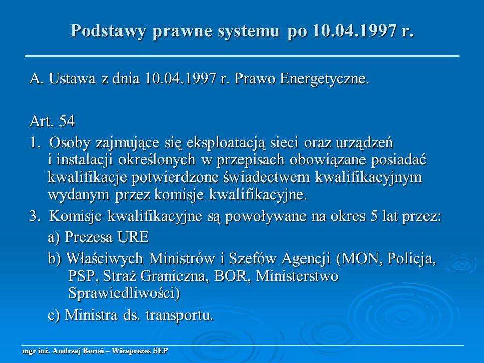 A. Ustawa z dnia 10.04.1997 r. Prawo Energetyczne. Art. 54 1. Osoby zajmujące się eksploatacją sieci oraz urządzeń i instalacji określonych w przepisa