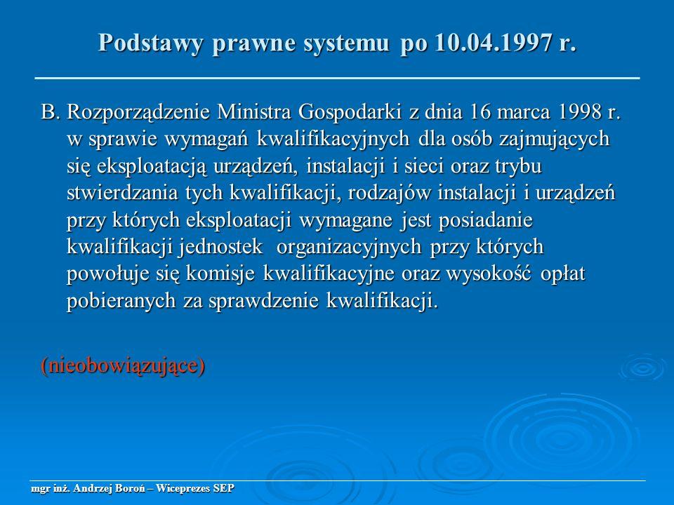 B. Rozporządzenie Ministra Gospodarki z dnia 16 marca 1998 r. w sprawie wymagań kwalifikacyjnych dla osób zajmujących się eksploatacją urządzeń, insta
