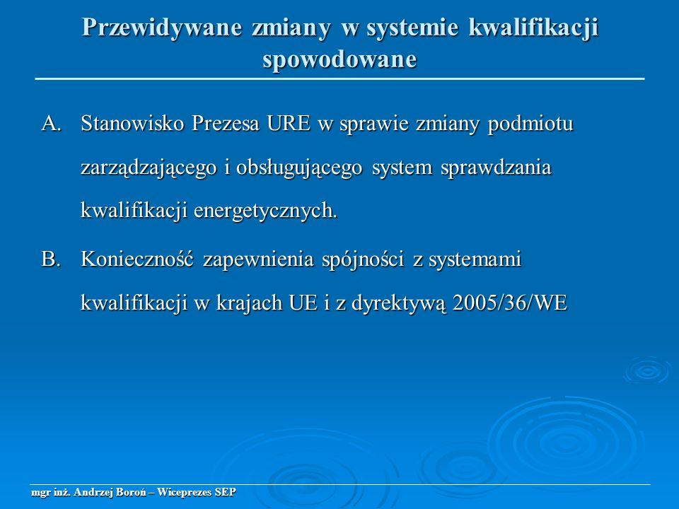 A. Stanowisko Prezesa URE w sprawie zmiany podmiotu zarządzającego i obsługującego system sprawdzania kwalifikacji energetycznych. B.Konieczność zapew