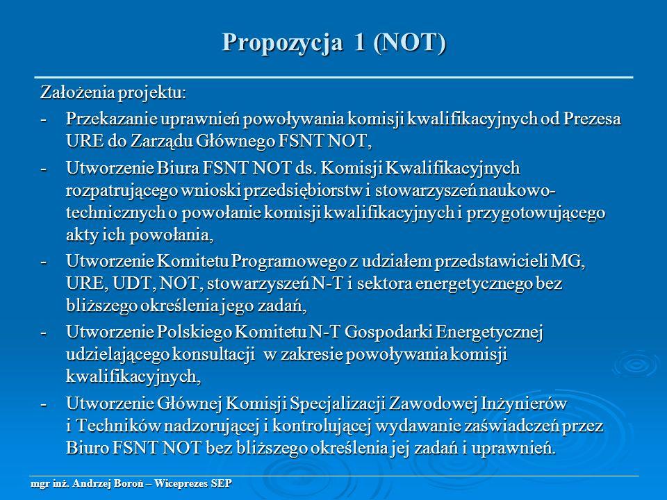 Założenia projektu: -Przekazanie uprawnień powoływania komisji kwalifikacyjnych od Prezesa URE do Zarządu Głównego FSNT NOT, -Utworzenie Biura FSNT NO