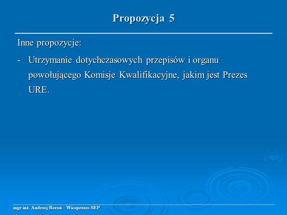 Inne propozycje: -Utrzymanie dotychczasowych przepisów i organu powołującego Komisje Kwalifikacyjne, jakim jest Prezes URE. mgr inż. Andrzej Boroń – W