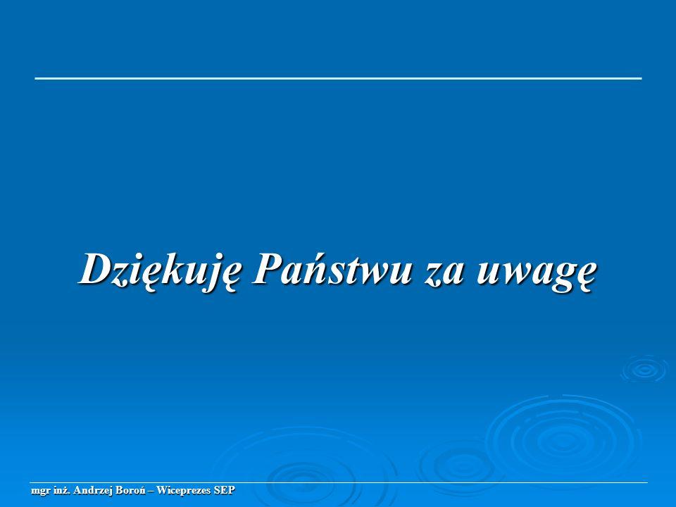 mgr inż. Andrzej Boroń – Wiceprezes SEP Dziękuję Państwu za uwagę