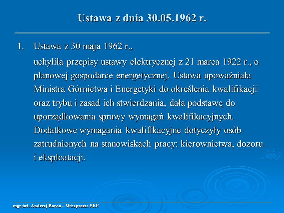 1.Ustawa z 30 maja 1962 r., uchyliła przepisy ustawy elektrycznej z 21 marca 1922 r., o planowej gospodarce energetycznej. Ustawa upoważniała Ministra