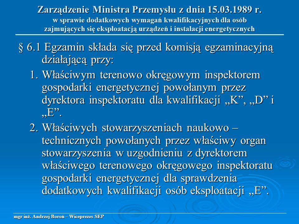 § 6.1 Egzamin składa się przed komisją egzaminacyjną działającą przy: 1.Właściwym terenowo okręgowym inspektorem gospodarki energetycznej powołanym pr