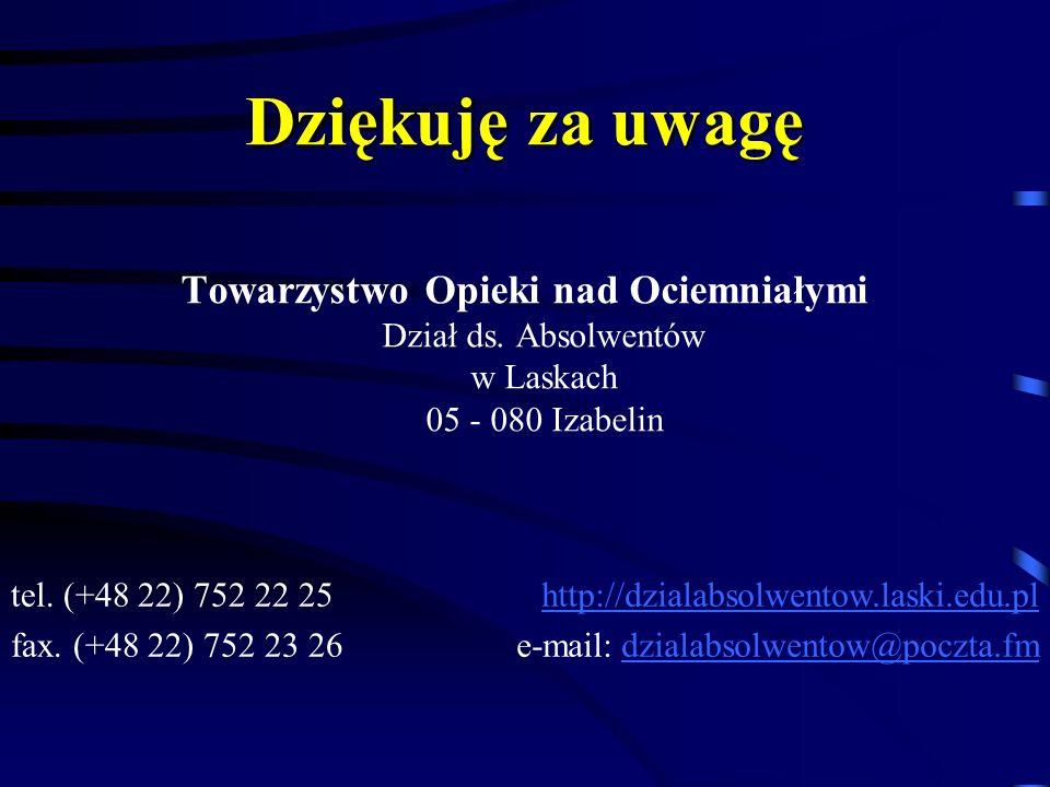 Dziękuję za uwagę Towarzystwo Opieki nad Ociemniałymi Dział ds. Absolwentów w Laskach 05 - 080 Izabelin tel. (+48 22) 752 22 25 fax. (+48 22) 752 23 2