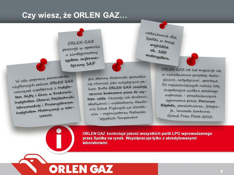 99 Czy wiesz, że ORLEN GAZ… ORLEN GAZ kontroluje jakość wszystkich partii LPG wprowadzanego przez Spółkę na rynek. Współpracuje tylko z akredytowanymi