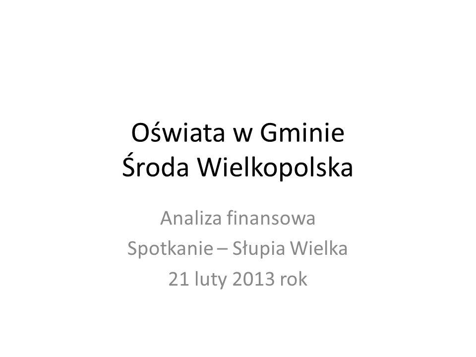 Oświata w Gminie Środa Wielkopolska Analiza finansowa Spotkanie – Słupia Wielka 21 luty 2013 rok