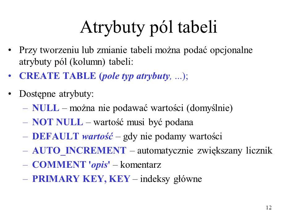 12 Atrybuty pól tabeli Przy tworzeniu lub zmianie tabeli można podać opcjonalne atrybuty pól (kolumn) tabeli: CREATE TABLE (pole typ atrybuty,...); Do
