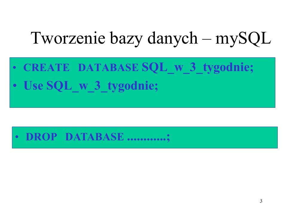 3 Tworzenie bazy danych – mySQL CREATE DATABASE SQL_w_3_tygodnie; Use SQL_w_3_tygodnie; DROP DATABASE............;