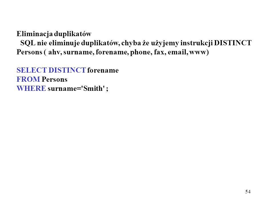 54 Eliminacja duplikatów SQL nie eliminuje duplikatów, chyba że użyjemy instrukcji DISTINCT Persons ( ahv, surname, forename, phone, fax, email, www)