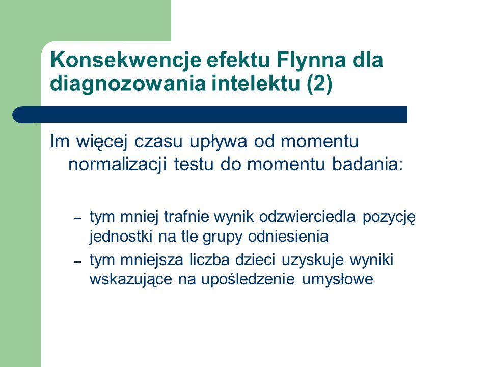 Konsekwencje efektu Flynna dla diagnozowania intelektu (2) Im więcej czasu upływa od momentu normalizacji testu do momentu badania: – tym mniej trafni