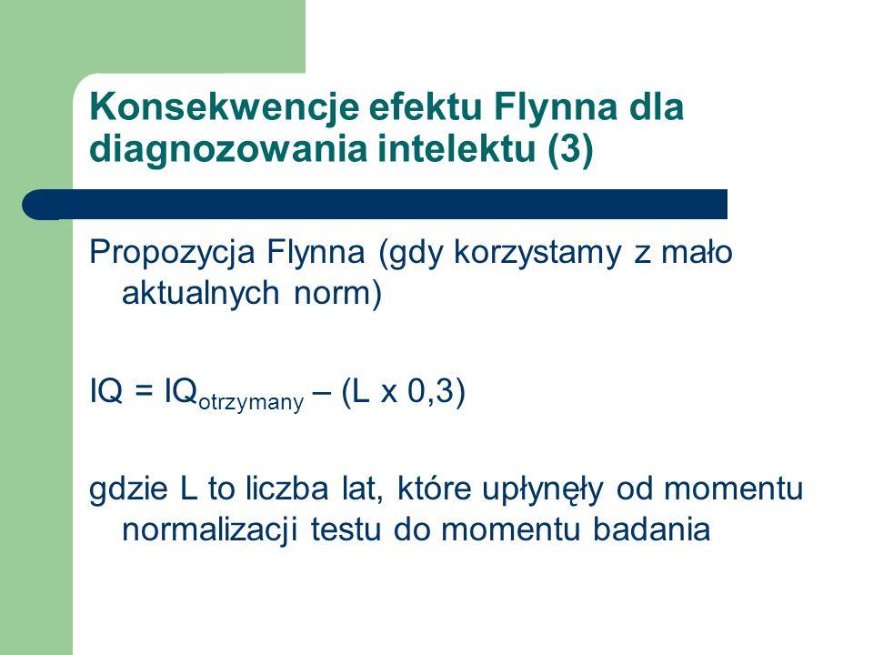 Konsekwencje efektu Flynna dla diagnozowania intelektu (3) Propozycja Flynna (gdy korzystamy z mało aktualnych norm) IQ = IQ otrzymany – (L x 0,3) gdz
