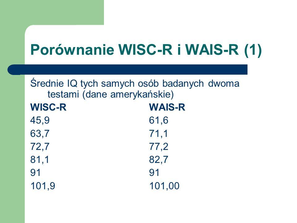 Porównanie WISC-R i WAIS-R (1) Średnie IQ tych samych osób badanych dwoma testami (dane amerykańskie) WISC-RWAIS-R 45,961,6 63,771,1 72,777,2 81,182,7