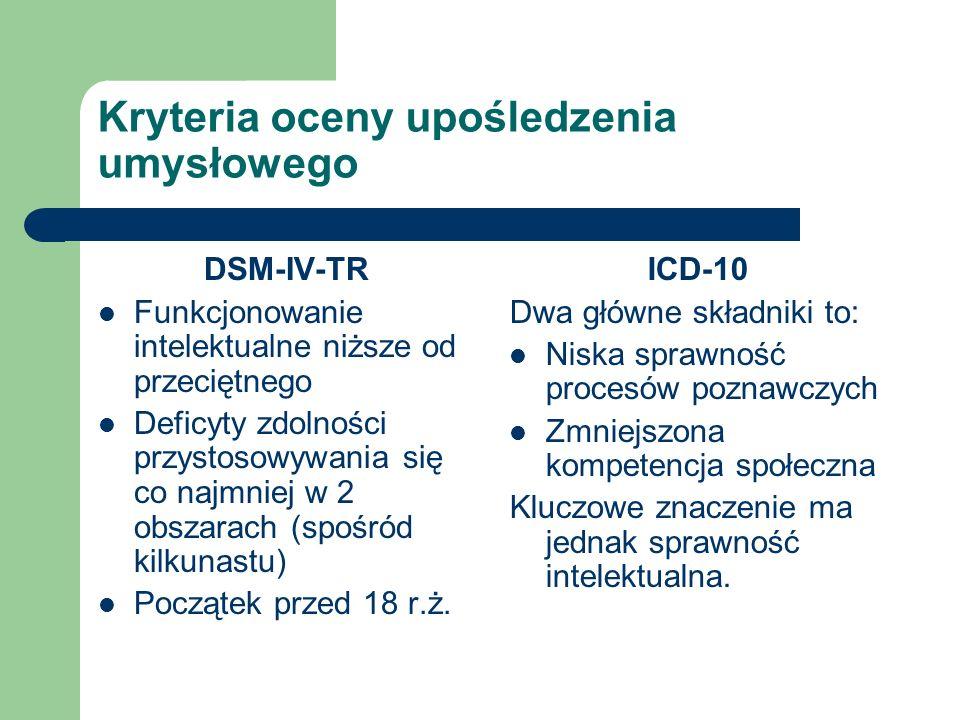 Kryteria oceny upośledzenia umysłowego DSM-IV-TR Funkcjonowanie intelektualne niższe od przeciętnego Deficyty zdolności przystosowywania się co najmni
