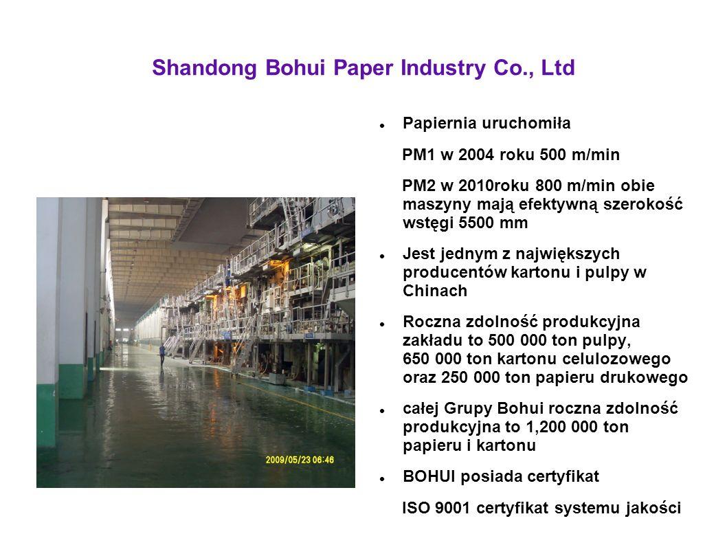 Shandong Bohui Paper Industry Co., Ltd Papiernia uruchomiła PM1 w 2004 roku 500 m/min PM2 w 2010roku 800 m/min obie maszyny mają efektywną szerokość w