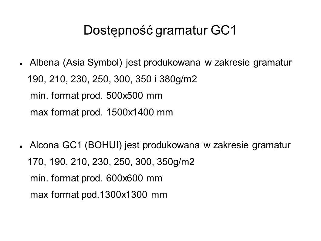 Dostępność gramatur GC1 Albena (Asia Symbol) jest produkowana w zakresie gramatur 190, 210, 230, 250, 300, 350 i 380g/m2 min. format prod. 500x500 mm