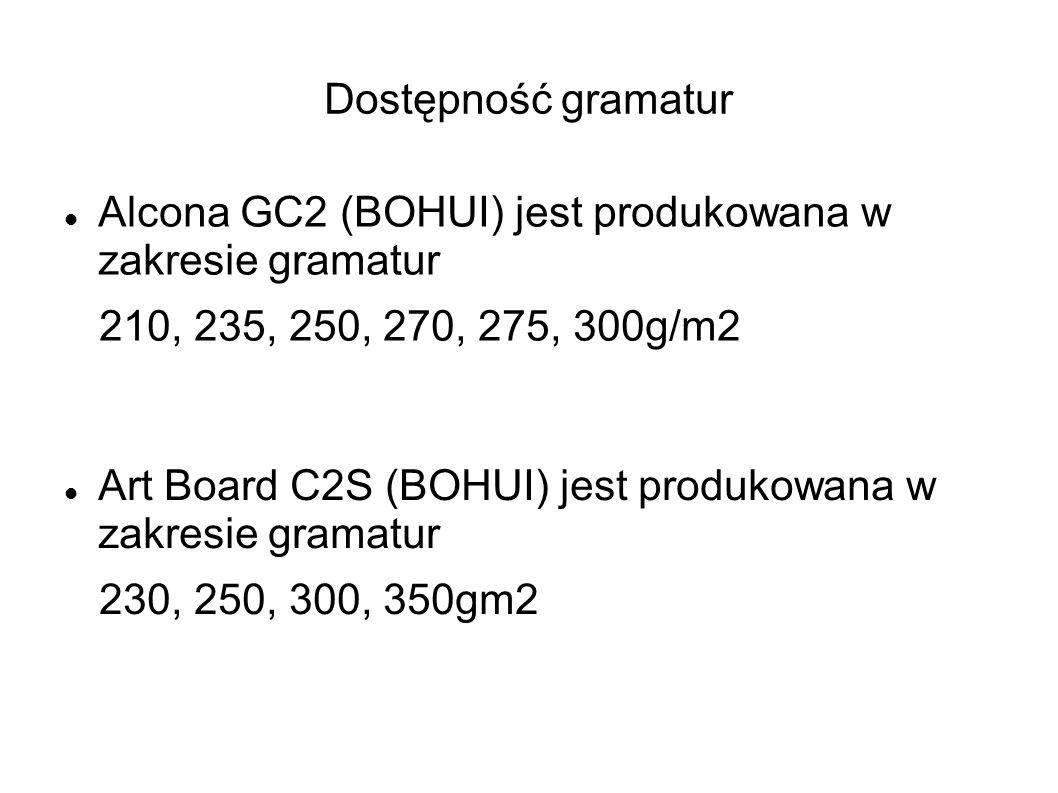 Dostępność gramatur Alcona GC2 (BOHUI) jest produkowana w zakresie gramatur 210, 235, 250, 270, 275, 300g/m2 Art Board C2S (BOHUI) jest produkowana w