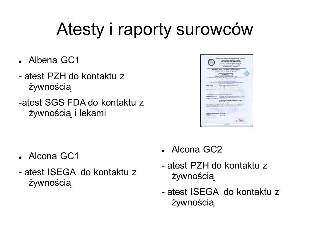 Atesty i raporty surowców Albena GC1 - atest PZH do kontaktu z żywnością -atest SGS FDA do kontaktu z żywnością i lekami Alcona GC2 - atest PZH do kon