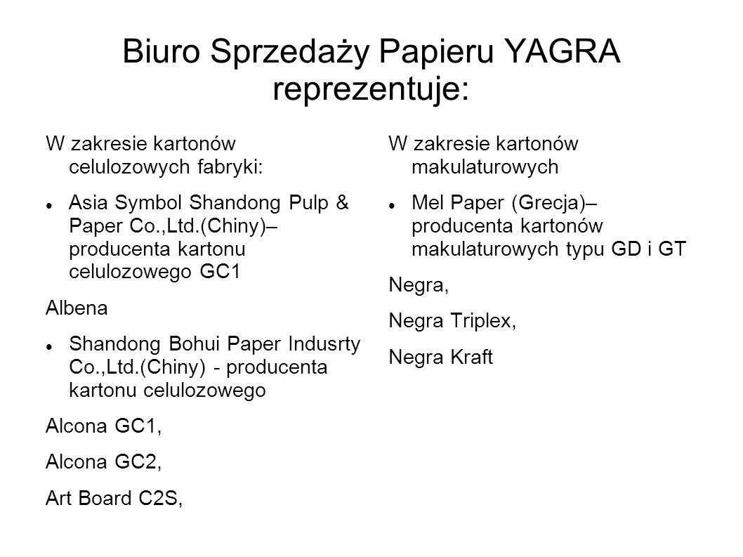 Biuro Sprzedaży Papieru YAGRA reprezentuje: W zakresie kartonów celulozowych fabryki: Asia Symbol Shandong Pulp & Paper Co.,Ltd.(Chiny)– producenta ka