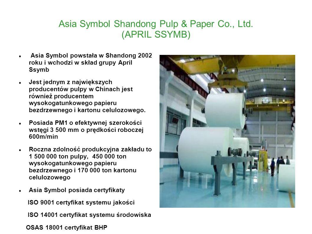 Asia Symbol Shandong Pulp & Paper Co., Ltd. (APRIL SSYMB) Asia Symbol powstała w Shandong 2002 roku i wchodzi w skład grupy April Ssymb Jest jednym z