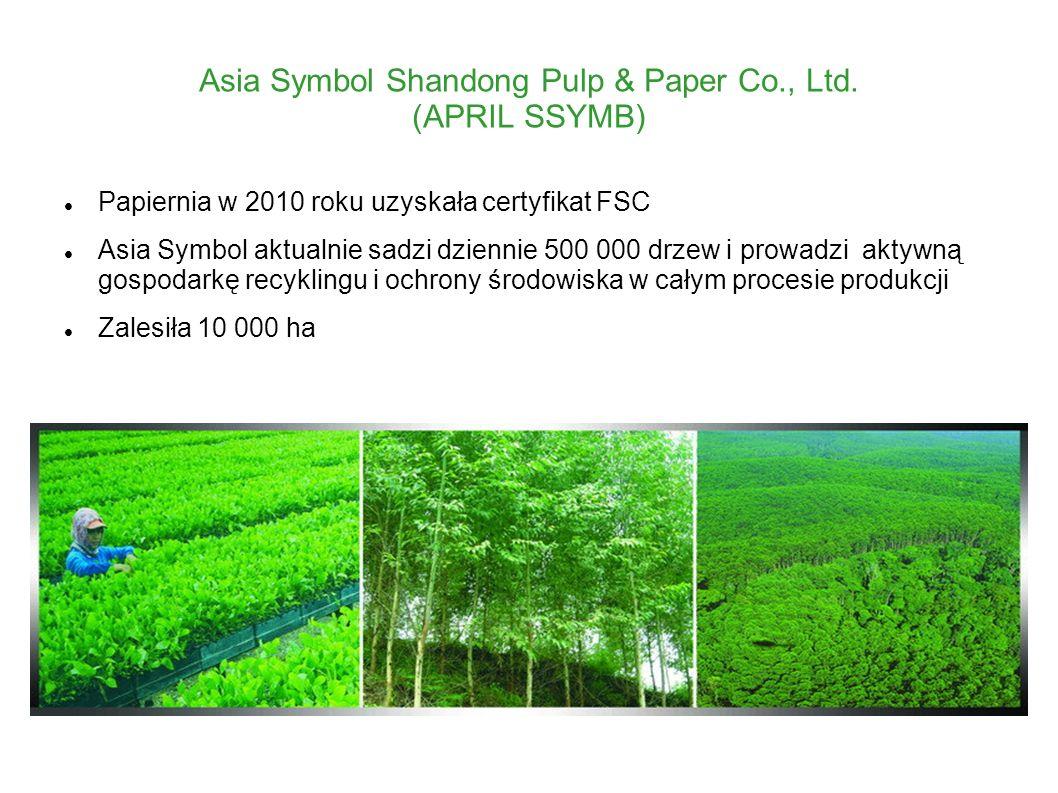 Asia Symbol Shandong Pulp & Paper Co., Ltd. (APRIL SSYMB) Papiernia w 2010 roku uzyskała certyfikat FSC Asia Symbol aktualnie sadzi dziennie 500 000 d