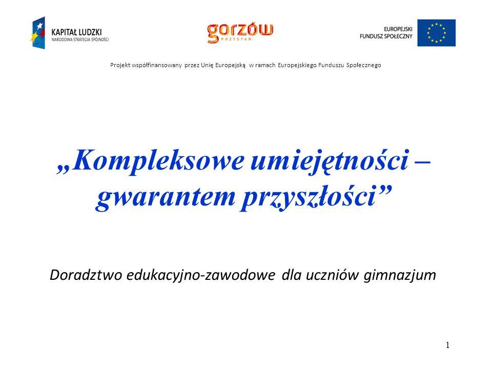 Miasto Gorzów Wielkopolski Czas realizacji projektu: październik 2012 – grudzień 2013 Projekt współfinansowany przez Unię Europejską w ramach Europejskiego Funduszu Społecznego Projektodawca Kompleksowe umiejętności – gwarantem przyszłości 2