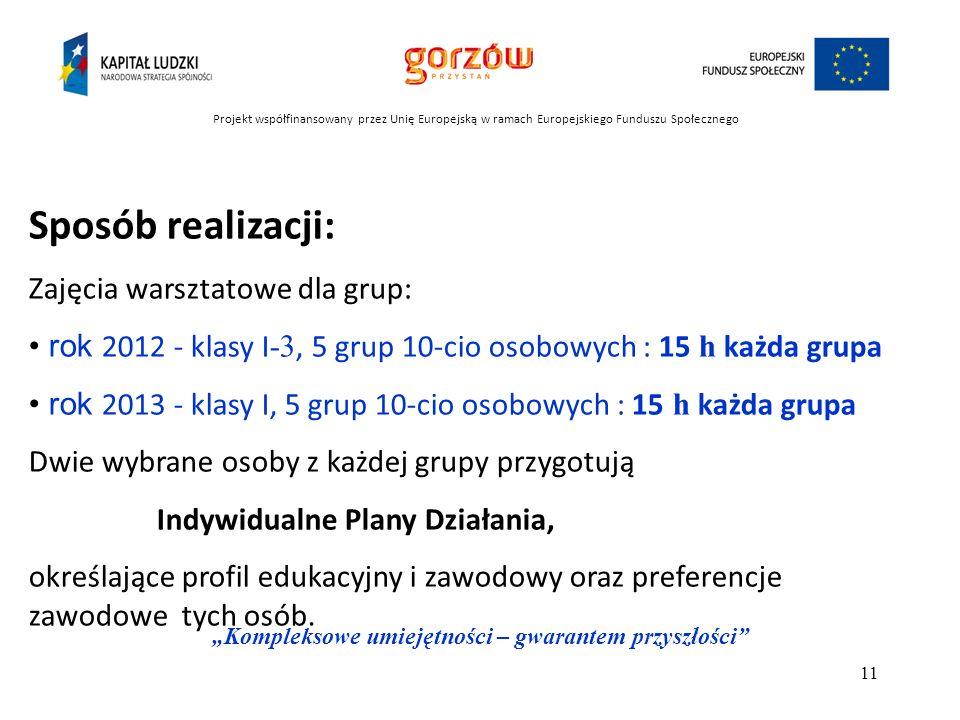 Projekt współfinansowany przez Unię Europejską w ramach Europejskiego Funduszu Społecznego Kompleksowe umiejętności – gwarantem przyszłości 12 Materiał przygotował: mgr Aleksander Matrej ek doradca zawodowy październik 2012