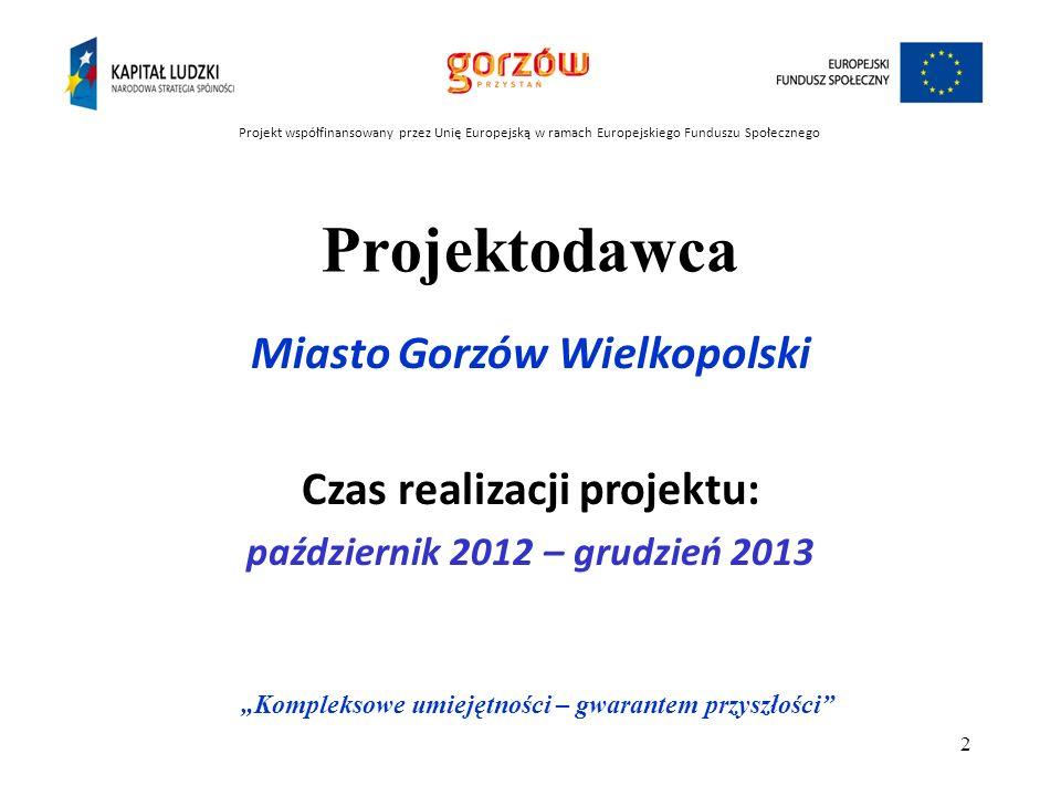 Cel projektu : Przygotowanie uczniów szkół gimnazjalnych z terenu Gorzowa W ielkopolskiego do wyboru szkoły ponadgimnazjalnej i wyboru zawodu.
