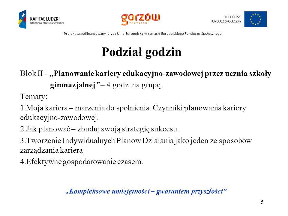 Grupa docelowa projektu: 400 uczniów szkół gimnazjalnych z terenu Gorzowa Wielkopolskiego Projekt współfinansowany przez Unię Europejską w ramach Europejskiego Funduszu Społecznego Kompleksowe umiejętności – gwarantem przyszłości 6