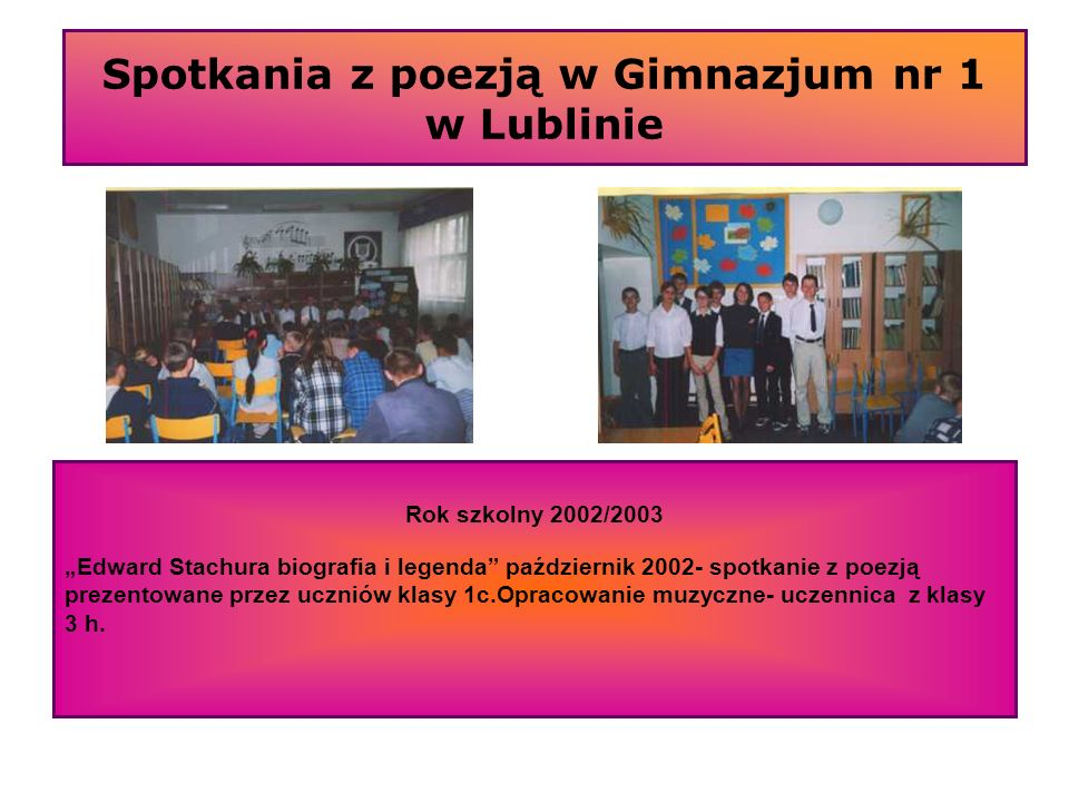 Spotkania z poezją w Gimnazjum nr 1 w Lublinie Rok szkolny 2002/2003 Edward Stachura biografia i legenda październik 2002- spotkanie z poezją prezento