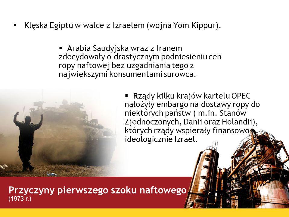 Klęska Egiptu w walce z Izraelem (wojna Yom Kippur). Rządy kilku krajów kartelu OPEC nałożyły embargo na dostawy ropy do niektórych państw ( m.in. Sta
