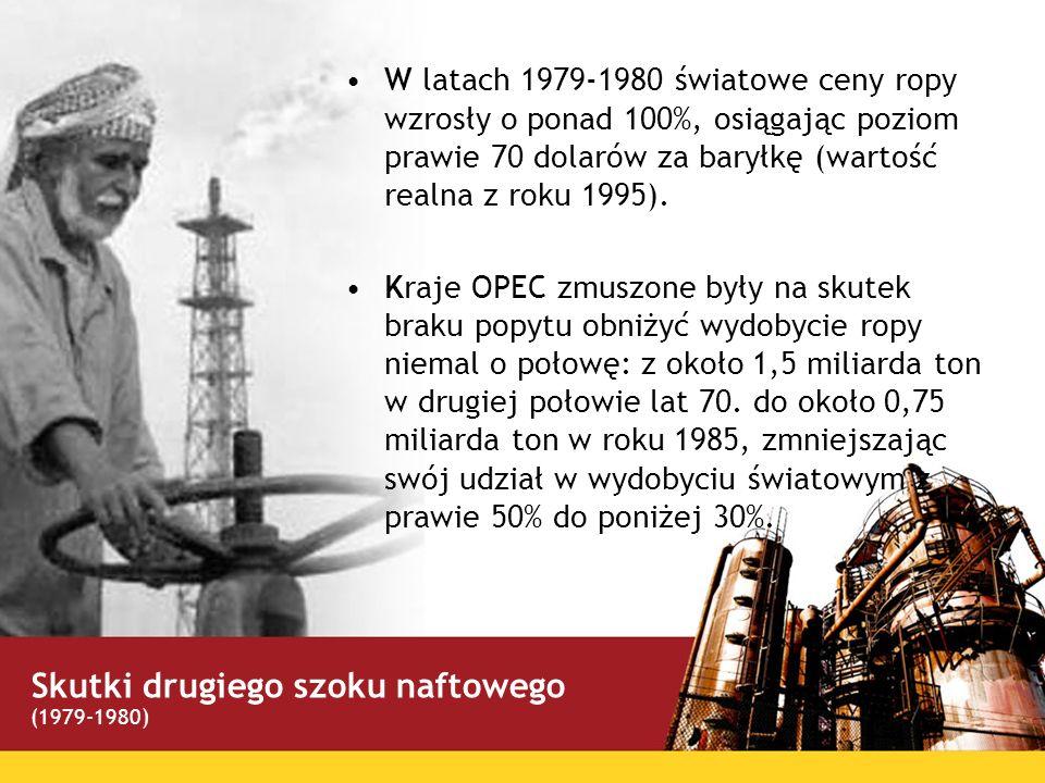 W latach 1979-1980 światowe ceny ropy wzrosły o ponad 100%, osiągając poziom prawie 70 dolarów za baryłkę (wartość realna z roku 1995). Kraje OPEC zmu
