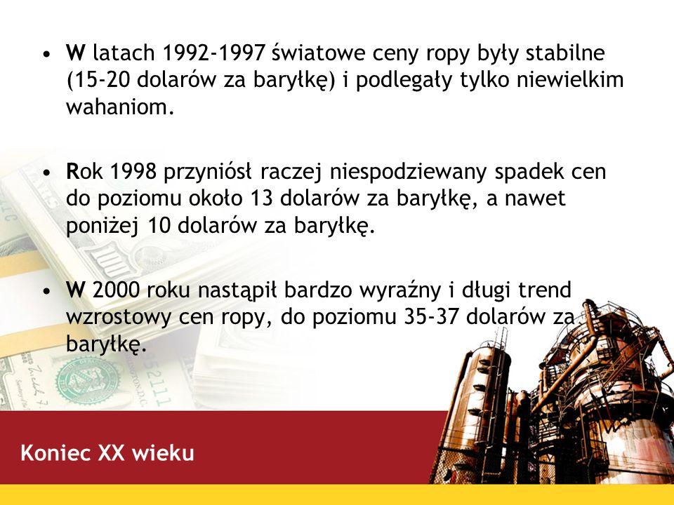 W latach 1992-1997 światowe ceny ropy były stabilne (15-20 dolarów za baryłkę) i podlegały tylko niewielkim wahaniom. Rok 1998 przyniósł raczej niespo