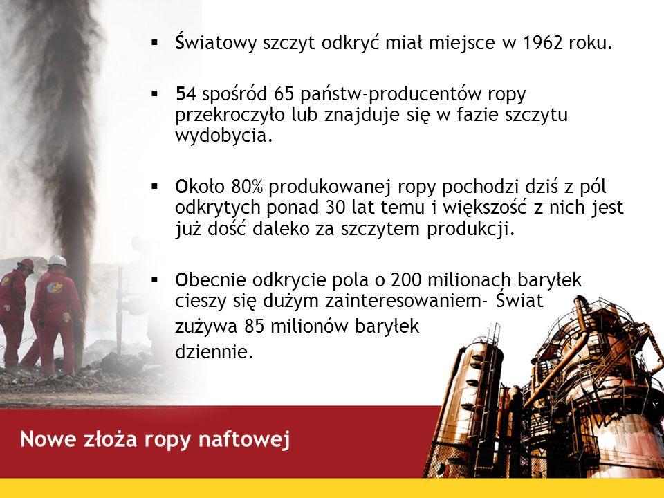 Światowy szczyt odkryć miał miejsce w 1962 roku. 54 spośród 65 państw-producentów ropy przekroczyło lub znajduje się w fazie szczytu wydobycia. Około