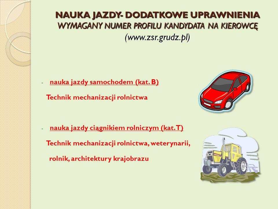 NAUKA JAZDY- DODATKOWE UPRAWNIENIA WYMAGANY NUMER PROFILU KANDYDATA NA KIEROWCĘ (www.zsr.grudz.pl) - nauka jazdy samochodem (kat. B) Technik mechaniza