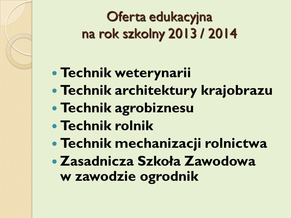 Oferta edukacyjna na rok szkolny 2013 / 2014 Technik weterynarii Technik architektury krajobrazu Technik agrobiznesu Technik rolnik Technik mechanizac