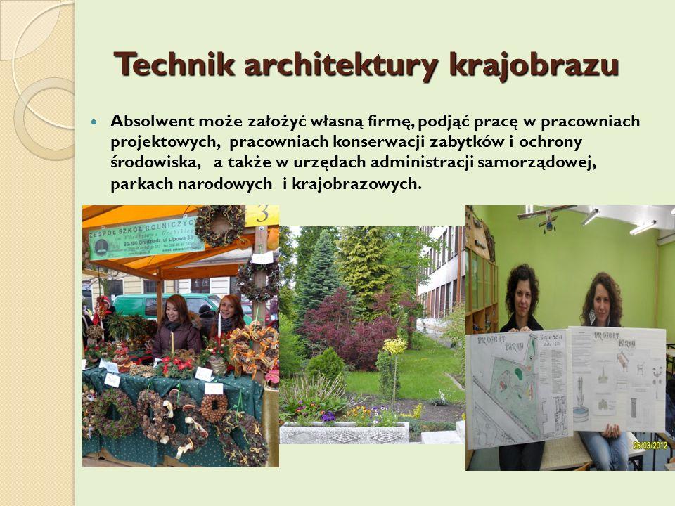 Technik architektury krajobrazu Absolwent może założyć własną firmę, podjąć pracę w pracowniach projektowych, pracowniach konserwacji zabytków i ochro