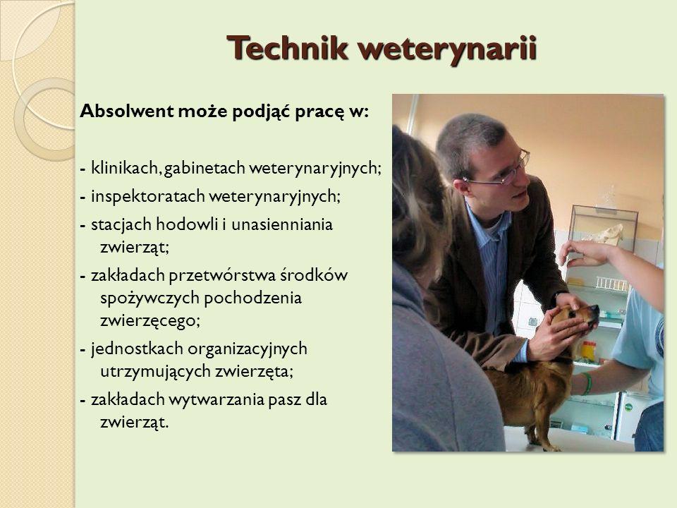 Technik weterynarii Absolwent może podjąć pracę w: - klinikach, gabinetach weterynaryjnych; - inspektoratach weterynaryjnych; - stacjach hodowli i una