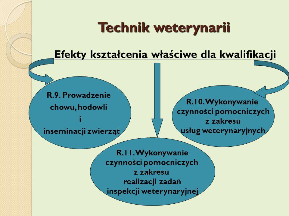 Technik weterynarii Efekty kształcenia właściwe dla kwalifikacji R.9. Prowadzenie chowu, hodowli i inseminacji zwierząt R.10. Wykonywanie czynności po