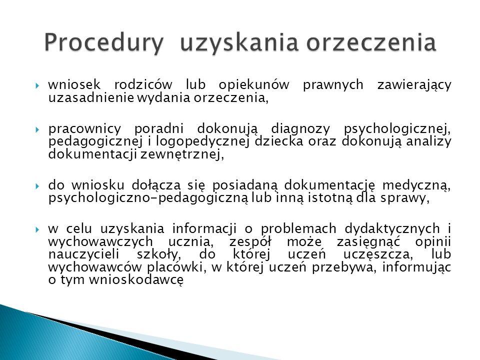 wniosek rodziców lub opiekunów prawnych zawierający uzasadnienie wydania orzeczenia, pracownicy poradni dokonują diagnozy psychologicznej, pedagogicznej i logopedycznej dziecka oraz dokonują analizy dokumentacji zewnętrznej, do wniosku dołącza się posiadaną dokumentację medyczną, psychologiczno-pedagogiczną lub inną istotną dla sprawy, w celu uzyskania informacji o problemach dydaktycznych i wychowawczych ucznia, zespół może zasięgnąć opinii nauczycieli szkoły, do której uczeń uczęszcza, lub wychowawców placówki, w której uczeń przebywa, informując o tym wnioskodawcę