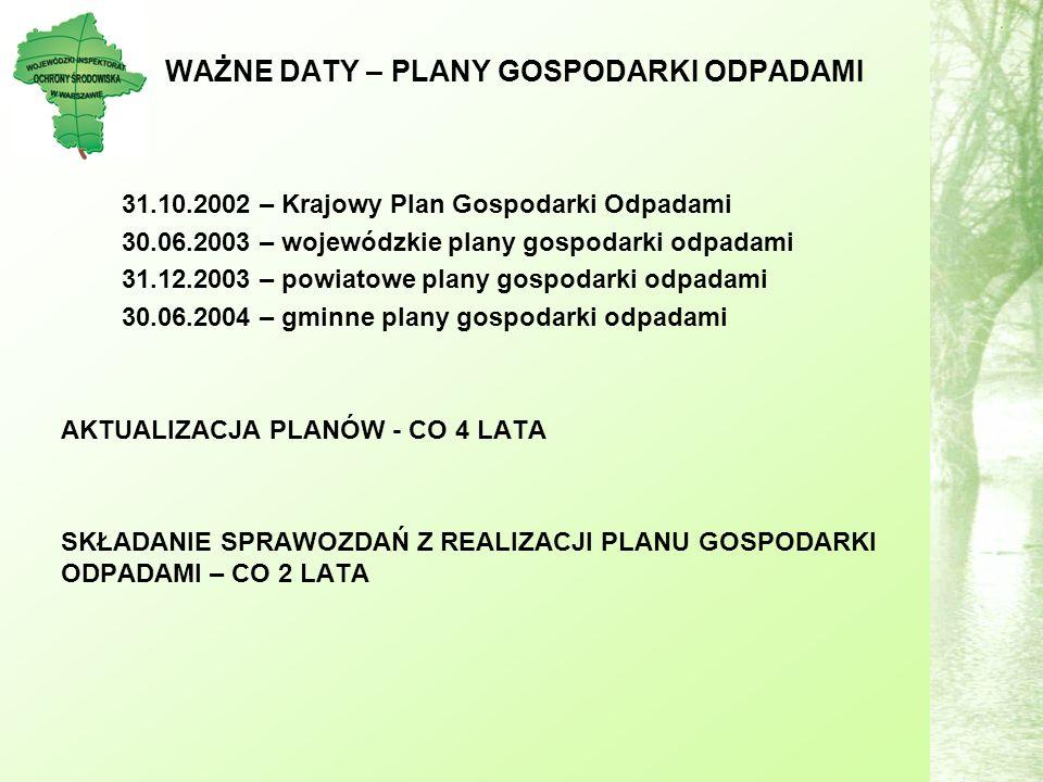 WAŻNE DATY – PLANY GOSPODARKI ODPADAMI 31.10.2002 – Krajowy Plan Gospodarki Odpadami 30.06.2003 – wojewódzkie plany gospodarki odpadami 31.12.2003 – powiatowe plany gospodarki odpadami 30.06.2004 – gminne plany gospodarki odpadami AKTUALIZACJA PLANÓW - CO 4 LATA SKŁADANIE SPRAWOZDAŃ Z REALIZACJI PLANU GOSPODARKI ODPADAMI – CO 2 LATA