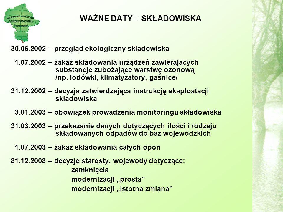 WAŻNE DATY – SKŁADOWISKA 30.06.2002 – przegląd ekologiczny składowiska 1.07.2002 – zakaz składowania urządzeń zawierających substancje zubożające warstwę ozonową /np.