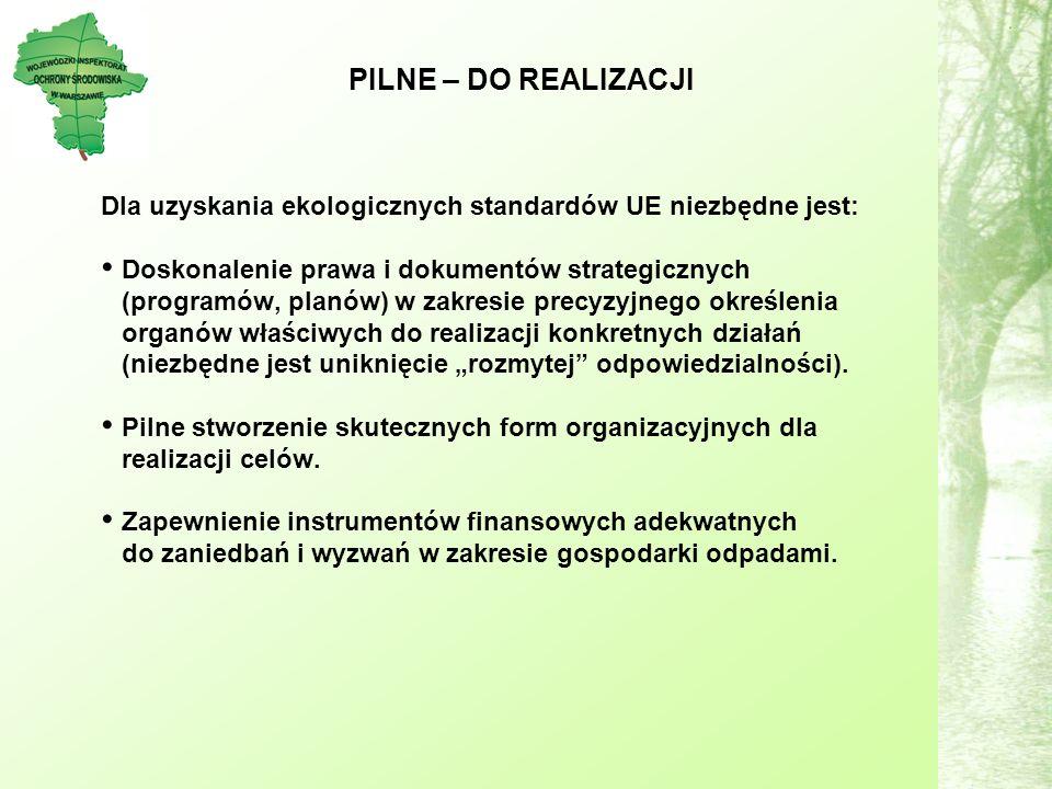 PILNE – DO REALIZACJI Dla uzyskania ekologicznych standardów UE niezbędne jest: Doskonalenie prawa i dokumentów strategicznych (programów, planów) w zakresie precyzyjnego określenia organów właściwych do realizacji konkretnych działań (niezbędne jest uniknięcie rozmytej odpowiedzialności).