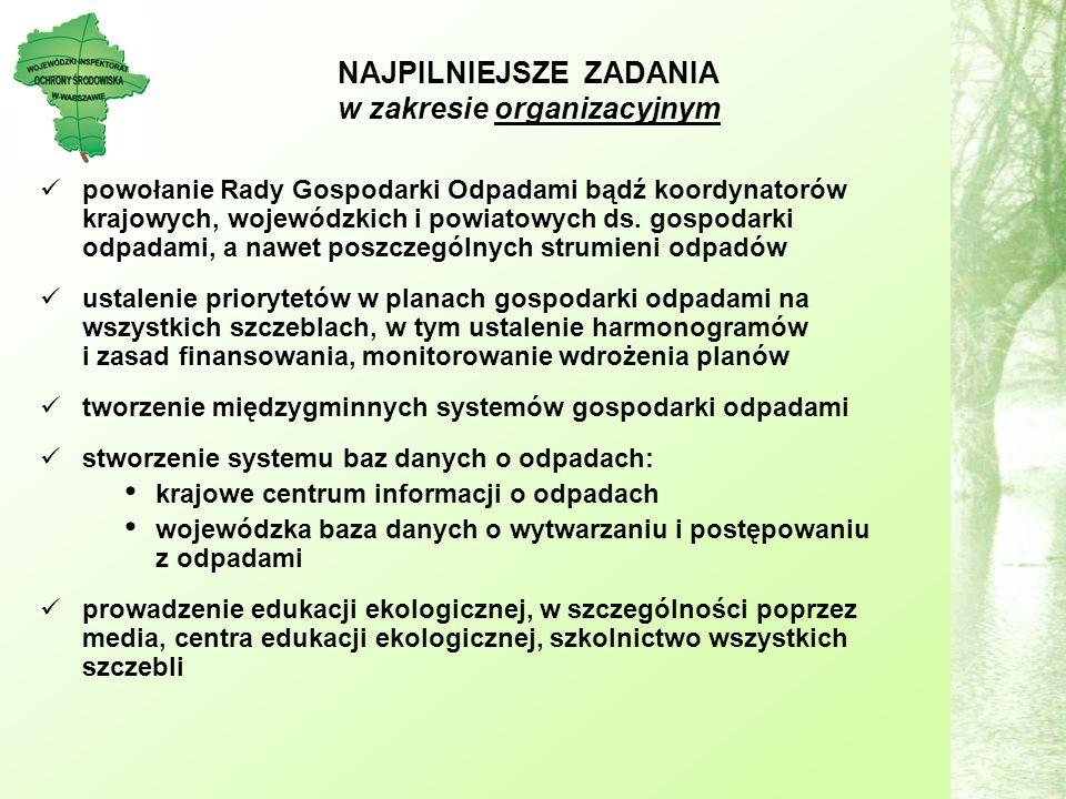 powołanie Rady Gospodarki Odpadami bądź koordynatorów krajowych, wojewódzkich i powiatowych ds.