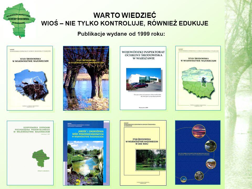 Publikacje wydane od 1999 roku: WARTO WIEDZIEĆ WIOŚ – NIE TYLKO KONTROLUJE, RÓWNIEŻ EDUKUJE