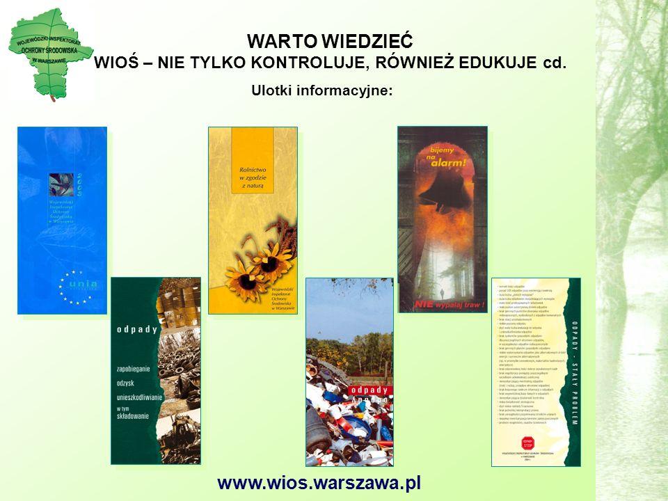 www.wios.warszawa.pl Ulotki informacyjne: WARTO WIEDZIEĆ WIOŚ – NIE TYLKO KONTROLUJE, RÓWNIEŻ EDUKUJE cd.